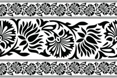 Seamless black and white lotus flower border. For lace and textile designs Royalty Free Stock Image
