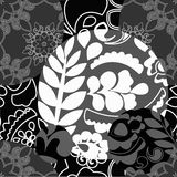 Seamless black and white patchwork pattern with flowers - stock Royalty Free Stock Photography
