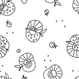 Seamless black-and-white pattern from apples. stock illustration