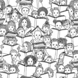 Seamless black and white pattern of children reading books royalty free stock photos
