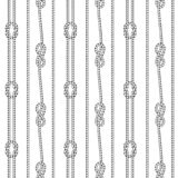 Seamless black and white pattern consisting of ropes and nautical knots. Separated white background royalty free illustration