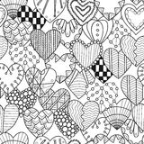Seamless black, white pattern with decorative hearts for coloring book. Seamless black and white pattern with decorative hearts for coloring book. Vector Stock Image