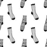 Seamless black, white pattern of doddle socks for colored book Royalty Free Stock Images