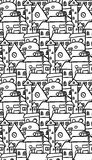 Seamless black and white pattern with doodle houses Royalty Free Stock Photography