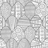 Seamless black and white pattern Easter eggs for coloring book Stock Photography
