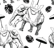 Seamless black and white pattern with elephant, monstera. Royalty Free Stock Photos