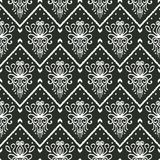 Seamless black and white pattern with embroidery. Ethnic Ikat style design stock illustration