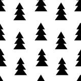 Seamless black and white pattern with fir trees. Vector illustration. Trendy seamless black and white pattern with fir trees. Vector illustration Stock Photography