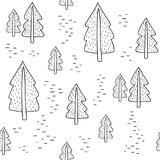 Seamless black and white pattern with fir-trees. Vector template. Suitable for wrapping paper, bedding,  print on clothes Stock Image
