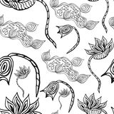 Seamless black and white pattern with flowers. Hand drawn texture for invitations, cards, web sites or for any other design Royalty Free Stock Photography