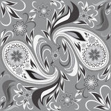 Seamless black and white pattern with flowers and paisley. Vector print . Royalty Free Stock Image