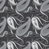 Seamless black and white  pattern with flowers and paisley. Vector print . Royalty Free Stock Photo