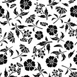 Seamless black and white pattern with flowers. Vector illustration. Stock Image