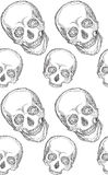 Seamless black and white pattern with hand-drawn skull Stock Photo