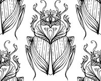 Seamless black and white pattern with hand drawn tribal scarab. Vector background with doodle pattern for your design Royalty Free Stock Image