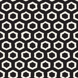 Seamless black and white pattern with hexagon lattice. Creative monochrome hand drawn honeycomb background. Stock Images