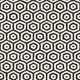 Seamless black and white pattern with hexagon lattice. Creative monochrome hand drawn honeycomb background. Royalty Free Stock Photo