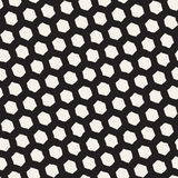 Seamless black and white pattern with hexagon lattice. Creative monochrome hand drawn honeycomb background. Royalty Free Stock Image