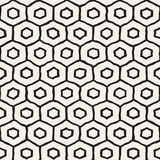 Seamless black and white pattern with hexagon lattice. Creative monochrome hand drawn honeycomb background. Royalty Free Stock Photography