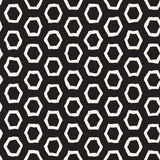 Seamless black and white pattern with hexagon lattice. Creative monochrome hand drawn honeycomb background. Royalty Free Stock Images