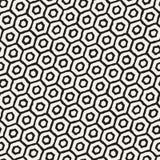 Seamless black and white pattern with hexagon lattice. Creative monochrome hand drawn honeycomb background. Stock Image