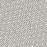 Seamless black and white pattern with hexagon lattice. Creative monochrome hand drawn honeycomb background. Stock Photography