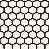 Seamless black and white pattern with hexagon lattice. Creative monochrome hand drawn honeycomb background. Royalty Free Stock Photos