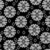 Seamless black and white pattern with lace circles Stock Photography