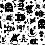 Seamless black and white pattern with monsters. Stock Images