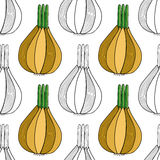 Seamless black, white pattern with onions for coloring. Vegetable background. Stock Photos