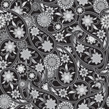 Seamless black and white pattern with paisley and flowers. Vector print . Stock Image