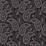 Seamless black and white pattern with paisley and geometric elements. Traditional ethnic ornament,decorative  print for garment .Black background Royalty Free Stock Photography