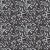 Seamless black and white pattern with paisley and roses. Vector print . Stock Photo