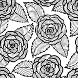 Seamless black and white pattern in roses and leaves lace. Stock Photography