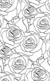 Seamless black and white pattern with roses Royalty Free Stock Photography