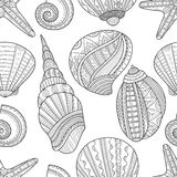 Seamless black and white pattern of seashells to coloring book. Seamless black and white pattern of sea shells to coloring book pages. Vector illustration Stock Photo