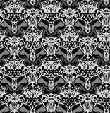 Seamless black and white pattern with silhouettes of butterflies Royalty Free Stock Images