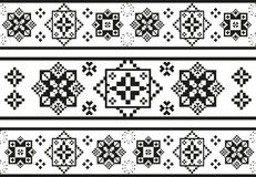 Seamless black and white pattern with stylized ethnic embroidery Stock Photography