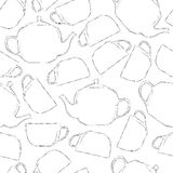 Seamless black-white pattern of tea cups and teapots Royalty Free Stock Photos