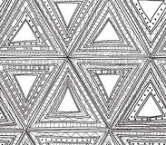 Seamless black and white pattern of triangles. Coloring pages for adults. Seamless black and white pattern of triangles. anti stress coloring book for adults Stock Image