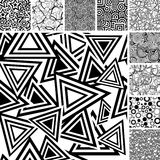 Seamless black and white patterns. Retro black and white seamless wallpapers Stock Photos