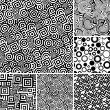 Seamless black and white patterns. Retro black and white seamless backgrounds Stock Image