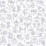 Seamless black and white patterns on the theme of logistics and delivery. royalty free illustration