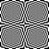 Seamless Black and White Rectangles Expanding from the Center. Optical Illusion of Perspective. Suitable for Web Design. Vector Illustration Royalty Free Stock Image