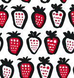 Seamless black, white and red contrast background with berries. Vector fabric texture. Decorative drawing pattern. Royalty Free Stock Images