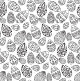 Seamless black and white texture with contour easter eggs. With doodle pattern. Vector festive pattern for your creativity Royalty Free Stock Photos
