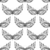 Seamless black and white texture with contour festive masks Royalty Free Stock Image