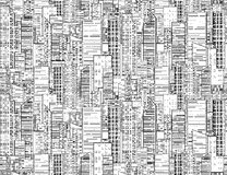 Seamless black and white texture with contours of  skyscrapers Royalty Free Stock Photos