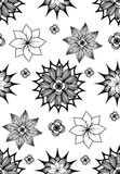 Seamless black and white texture with doodle flowers Stock Images
