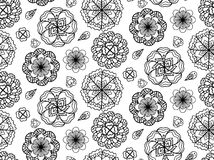 Seamless black and white texture with doodle flowers Royalty Free Stock Photos